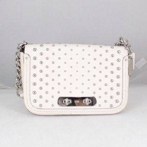 COACH #18300 White Leather Chain Crossbody